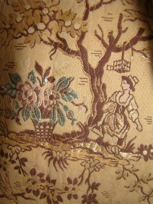 Silk fabric Jacquard  French antique 19th-century