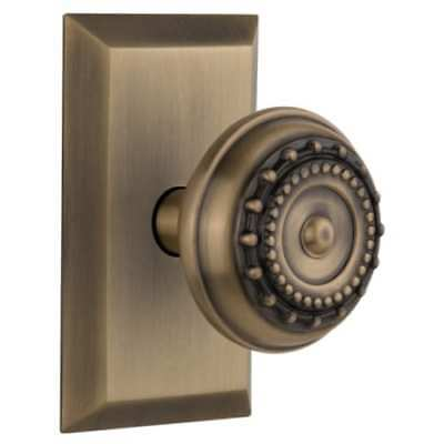 Nostalgic Warehouse 717773 Meadows Solid Brass Privacy Knob Set with Studio Rose