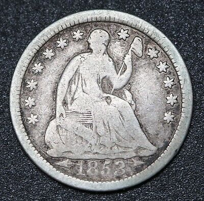 1853 US Seated Liberty Half Dime Silver Coin KM# 76