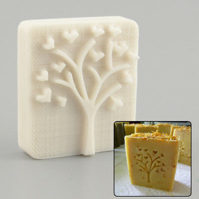 Heart Love Tree Design Handmade Yellow Resin Soap Stamp Mold Craft Gift