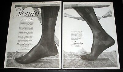 1919 Old Magazine Print Ad, Monito Socks, Their Fit Comes As A Welcome Surprise!