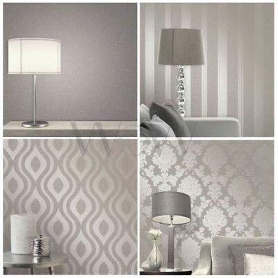 Fine Decor Quartz Pewter Wallpaper Stripe Textured Damask And Geometric New