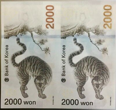South Korea 2,000 2000 Won 2018 2017 Winter Olympic Comm. Uncut Set Of 2 Unc