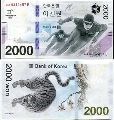 South Korea 2,000 2000 Won 2018 2017 Winter Olympic Comm. Unc No Folder