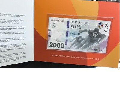 South Korea 2,000 2000 Won 2018 2017 Winter Olympic Comm. Unc With Folder