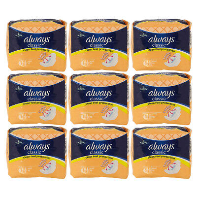 Always Classic Normal 10 x 9 Sanitary Towels Pads With Wings (90 Pads)