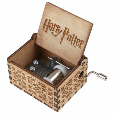 Harry Potter Music Box Engraved Wooden Music Box Craft Collectible Toy Xmas Gift
