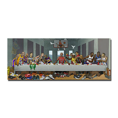 Kobe Bryant Michael Jordan The Last Supper Funny Basketball Silk Fabric Poster