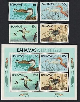 Bahamas Pintail Egret Booby Whistling Duck Birds 4v+MS SG#589-MS592