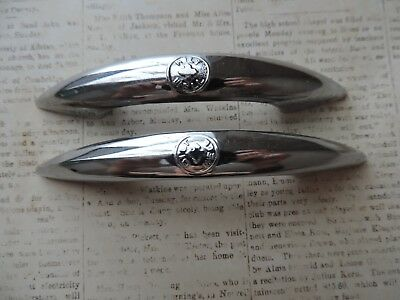 Vintage Mid Century Bilt Well Chrome Drawer Pulls Steel Cabinet Door Handles 2