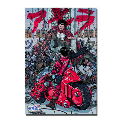 Akira Red Fighting Japan Anime Silk Fabric Poster Wall Art Print 12x18 24x36