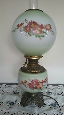 Antique Victorian Gone With The Wind  Oil Kerosene Lamp Handpainted Electrified