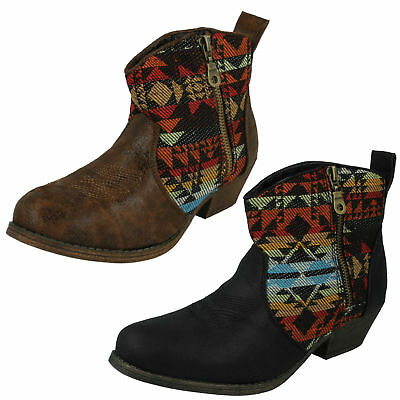 """Spot On F50176 Ladies Black Synthetic Zip Up 3/"""" Block Heeled Cowboy Boots"""