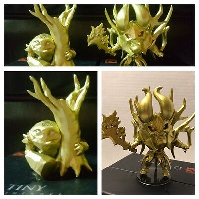 Set of 2 Dota 2 Demihero Gold Doom & Gold Tiny Collectible No Codes Home Decor