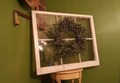 Architectural Salvage, OLD ANTIQUE WINDOW SASH, 34x27 with eucalyptus wreath
