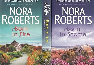 Nora Roberts Concannon Sisters Trilogy 3 Book Set Born in Fire, Ice, Shame, NEW