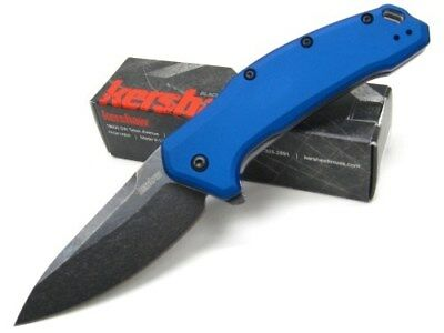 KERSHAW Blue LINK Assisted Blackwash Straight Folding POCKET Knife New! 1776NBBW