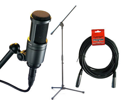 Audio-Technica AT2020 Cardioid Condenser Microphone + Mic Stand + 20' XLR Cable
