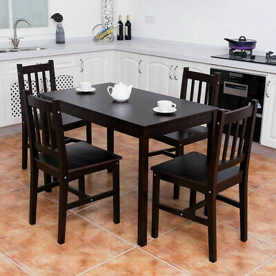 5 PIECE WOOD Dining Table Set 4 Chairs Home Kitchen ...
