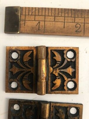 "Antique Interior Shutter Hinges C. 1870's 1-1/4"" X2"" Cast Bronze Lot of 18"