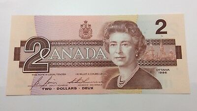 1986 Canada Uncirculated 2 Two Dollar EGR Prefix Canadian Banknote C866