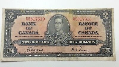 1937 Canada Circulated 2 Two Dollar DR Prefix Canadian Banknote C872