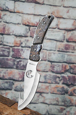 Straight GUTHOOK Survival Full Tang Fixed Blade Hunting Knife Snow Camo