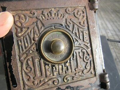 ANTIQUE 1800's  CAST IRON ROYAL SAFE DEPOSIT BANK WITH ORIGINAL DECALS 6 X 5