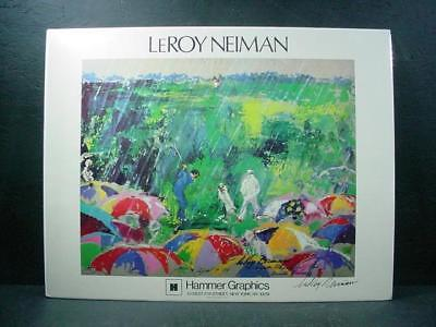 "NobleSpirit {3970} Signed LeRoy Neiman Poster Print ""Arnie in The Rain"""