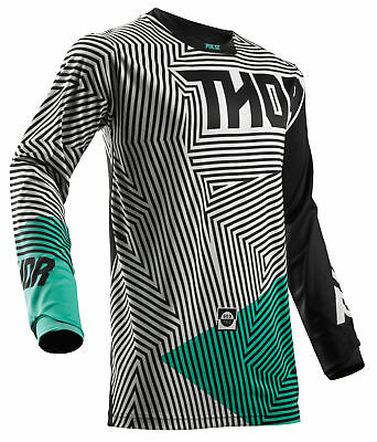 THOR MX Motocross Men's 2018 PULSE GEOTEC Jersey (Black/Teal) Choose Size