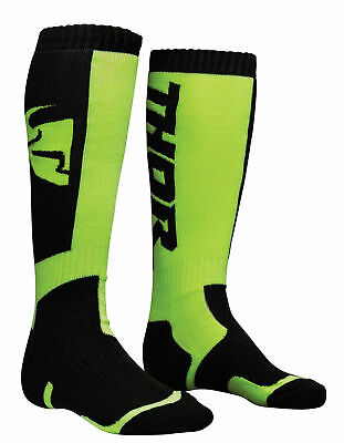THOR MX Motocross Men's 2018 MX Socks (Black/Lime) Choose Size