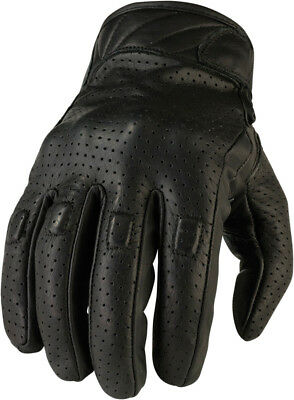 Z1R Men's 270 Perforated Leather Motorcycle Riding Gloves (Black) Choose Size