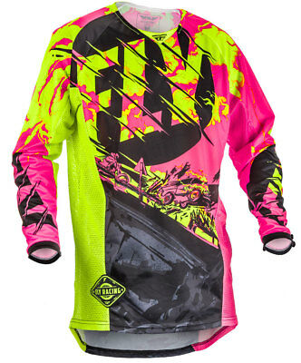 Fly Racing MX Motocross MTB BMX 2018 KINETIC Outlaw Jersey (Black/Pink/Hi-Vis)