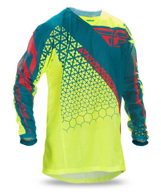 FLY RACING MX MTB 2017 Kinetic TRIFECTA Mesh Jersey (Hi-Vis/Teal) Choose Size