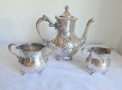 Vtg Victorian Roses Silver Plate Numbered Tea Coffee Pot + Sugar Creamer Lot