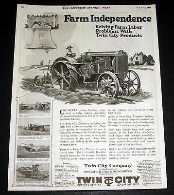 1920 Old Magazine Print Ad, Twin City 12-20 Kerosene Tractor For Power Farming!