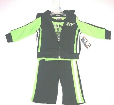 Little Boys 18M Tuff Guys 3pc Hoodie Outfit MVP All Star Green Black