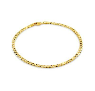 NEW 9ct Yellow Gold Fine Flat Curb Bracelet Hallmarked 375 Made in Italy