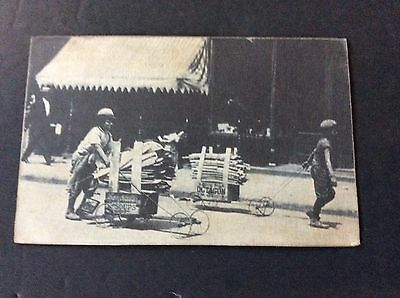 Postcard Vintage Scene of Boy Pushing a cart made from a Campbell's Soup Crate