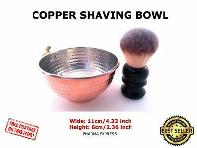 Hand Hammered Copper Shaving Bowl for Shaving Brush & Safety Razor Unique Handle