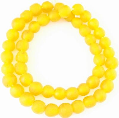 Handmade Ghana Pineapple yellow Krobo recycled Glass African trade Beads