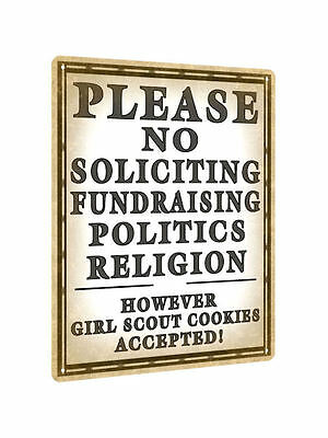 NO SOLICITING METAL SIGN front porch funny vintage style wall decor plaque 651