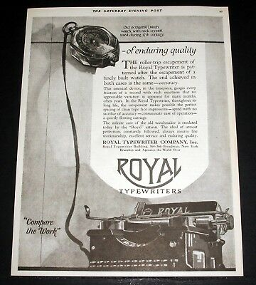 1920 Old Magazine Print Ad, Royal Typewriter, Enduring Quality Compare The Work!