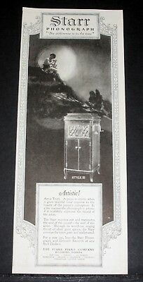 1920 Old Magazine Print Ad, Starr Phonograph, Reanimates The Soul Of The Record!