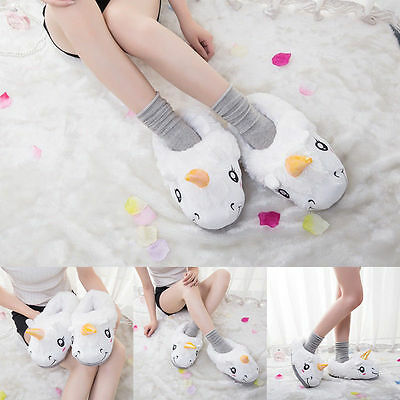 Unisex Winter Warm Plush Unicorn Slip Soft Cartoon Adult Indoor w/Heel Slippers
