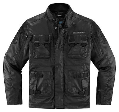 ICON 1000 FORESTALL Textile/Leather Motorcycle Jacket (Black) Choose Size