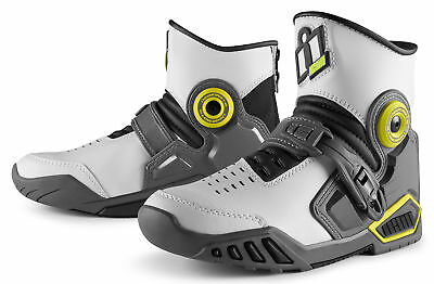 ICON ACCELERANT Mid-Rise Leather Motorcycle Boots (White/Gray) Choose Size