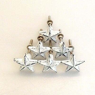 6 x STAR Door Knob pulls handles Shabby Chic old antique style - White - 35mm