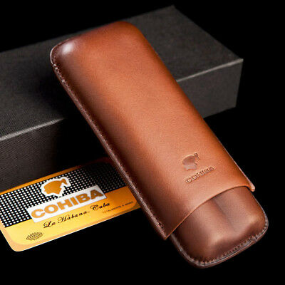 COHIBA Brown Genuine Leather Cigar Travel Holder Case 2 Count