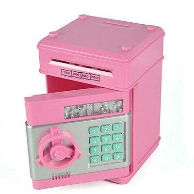 Electronic Mini Pink ATM Coin Cash counter saving piggy bank Password Box K6
